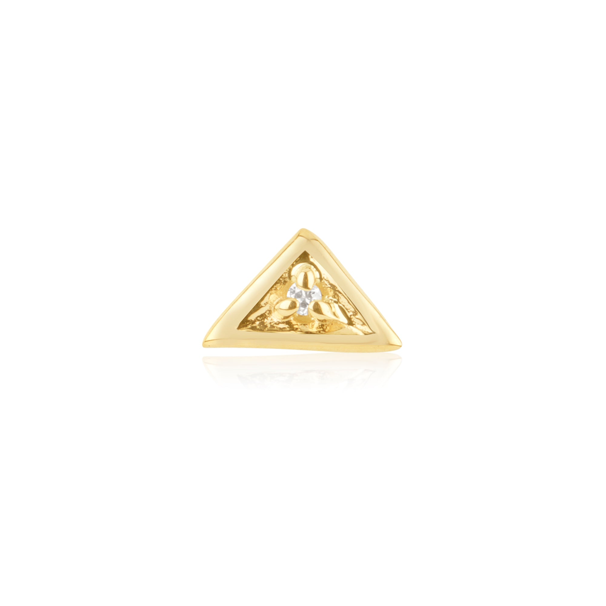 gold triangle stud earring