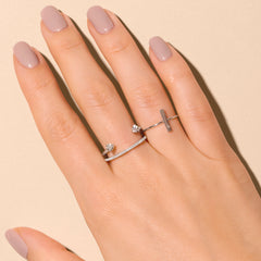 Vertical Bar Ring with Diamond