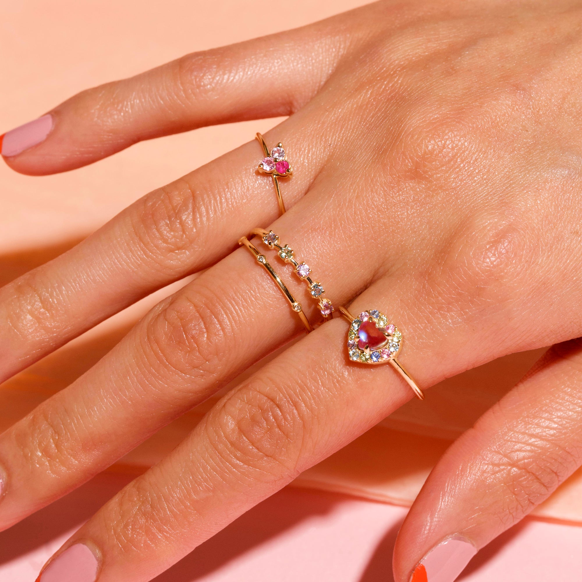 Yellow Gold Pink Sapphire Triad Ring