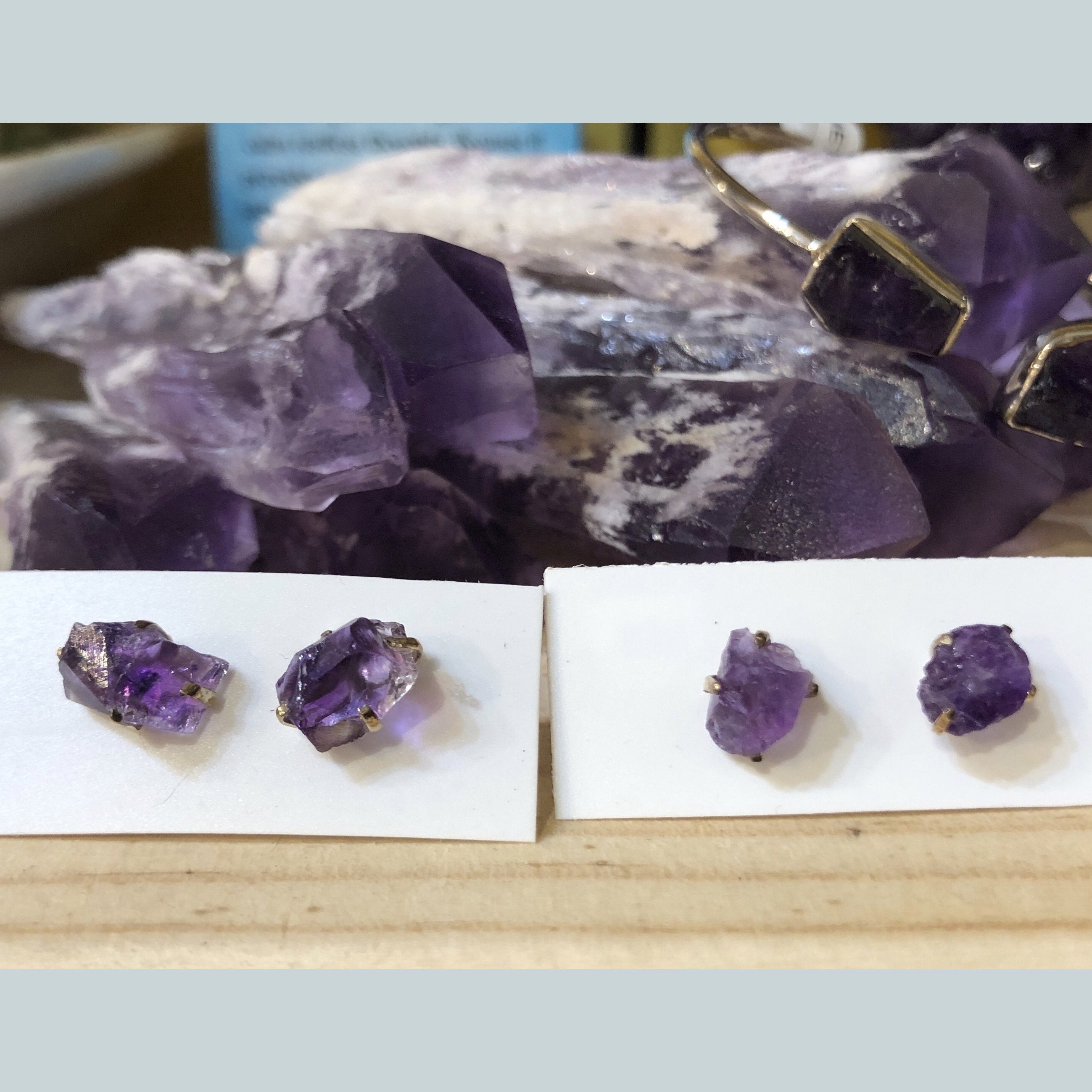 Amethyst Earrings (Raw)