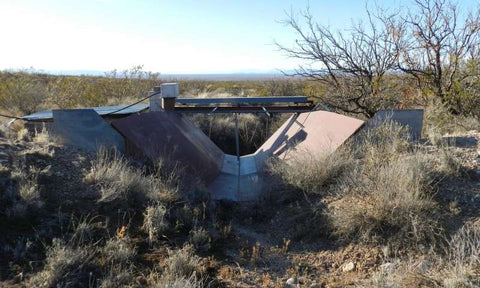 Flume used to measure streamflow, located at the outlet of the watershed, Chihuahuan Desert, New Mexico. Credit: ASU  Read more at: https://phys.org/news/2018-08-monsoon-beneficial-underground-aquifers.html#jCp