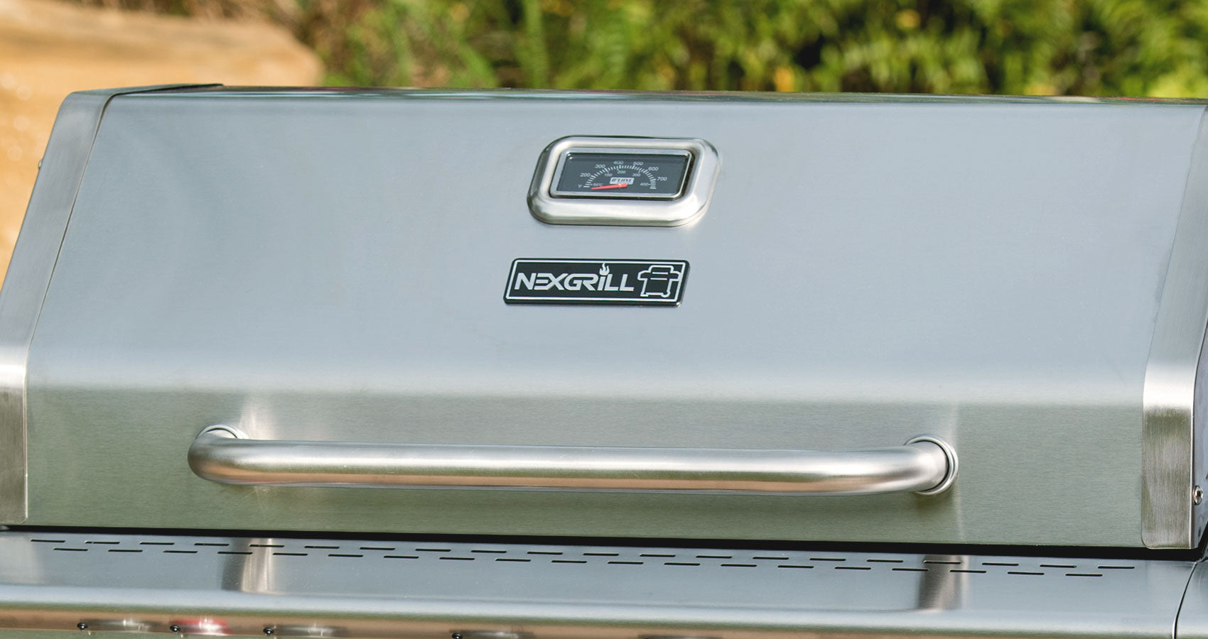 close up of nexgrill stainless steel hood