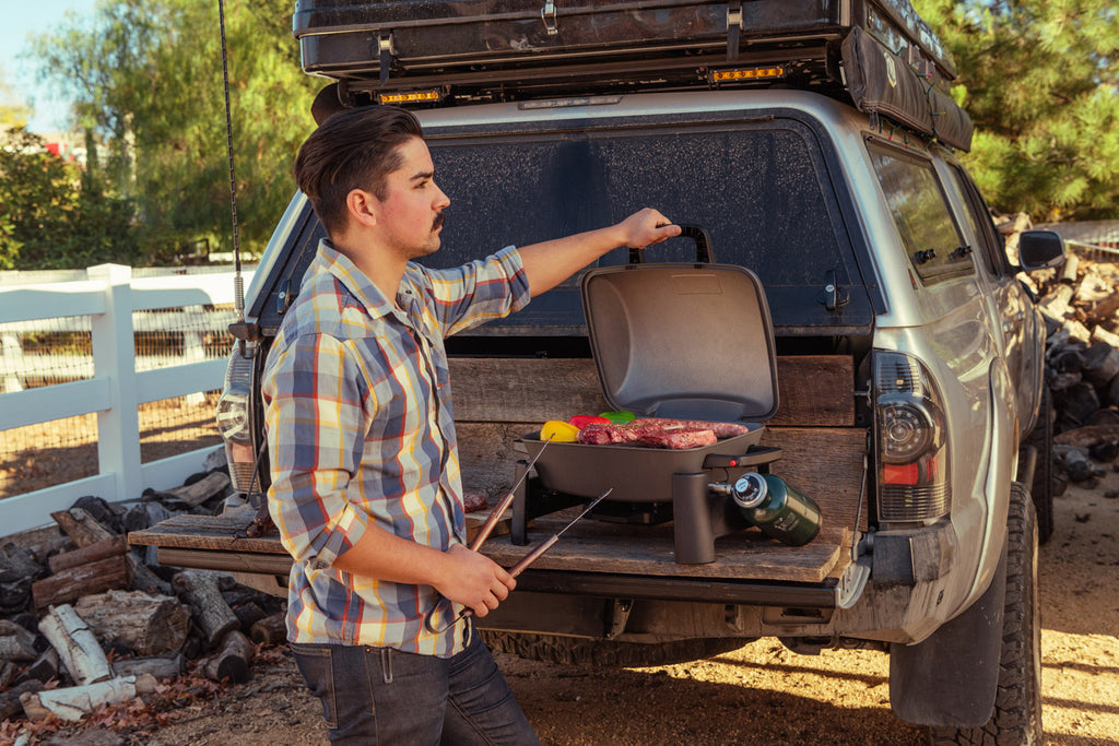 grill off the grid with the portable fortress tabletop grill