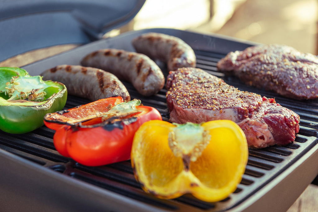 peppers and meat on fortress tabletop gas grill
