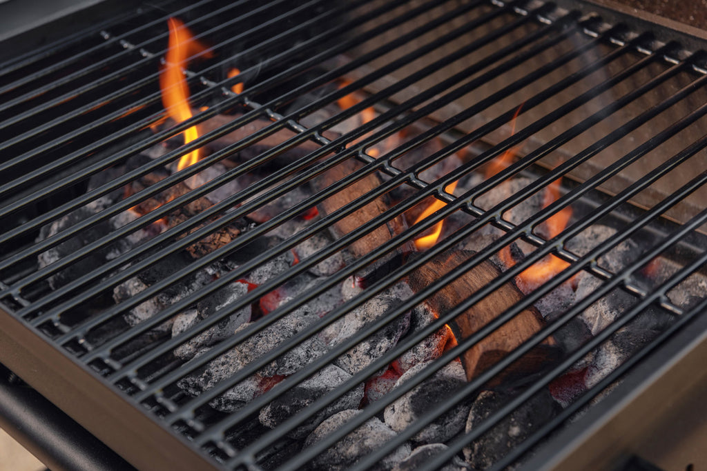 grilling with wood and charcoal