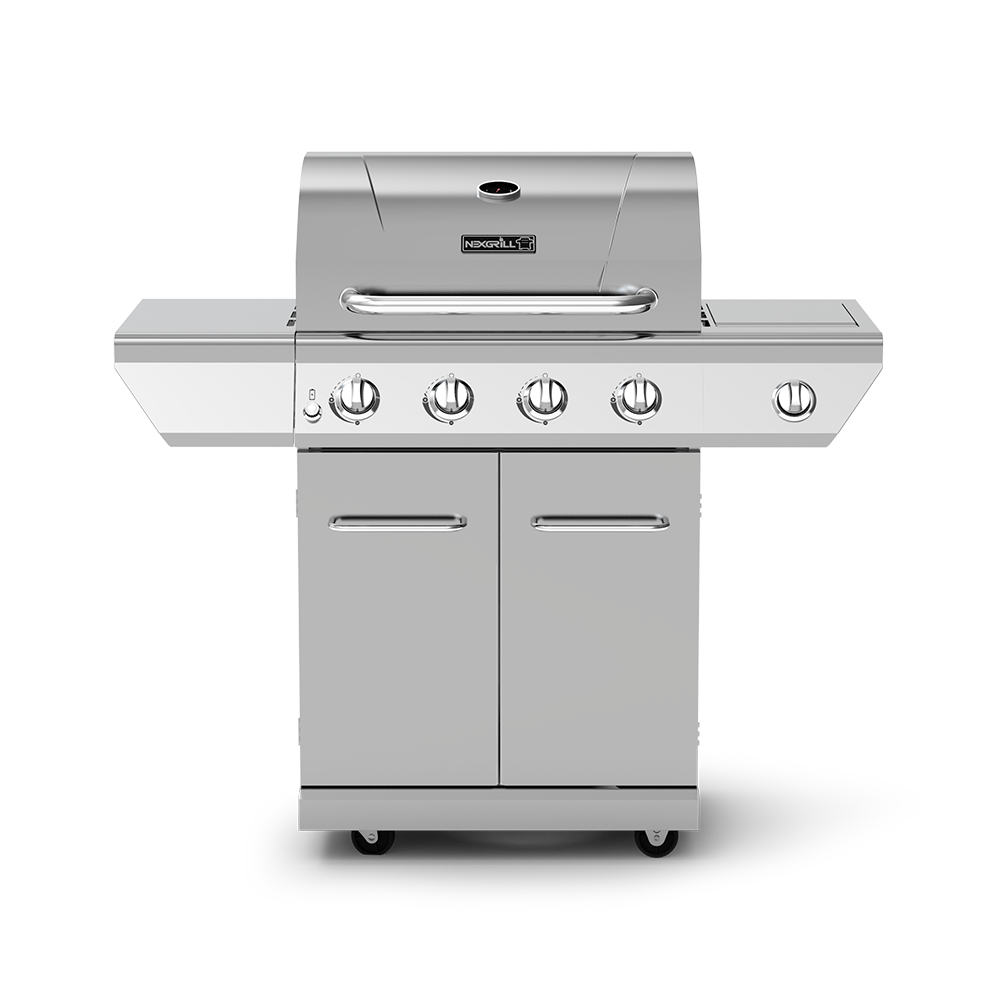 4-Burner Propane Gas Grill with Stainless Steel Side Burner