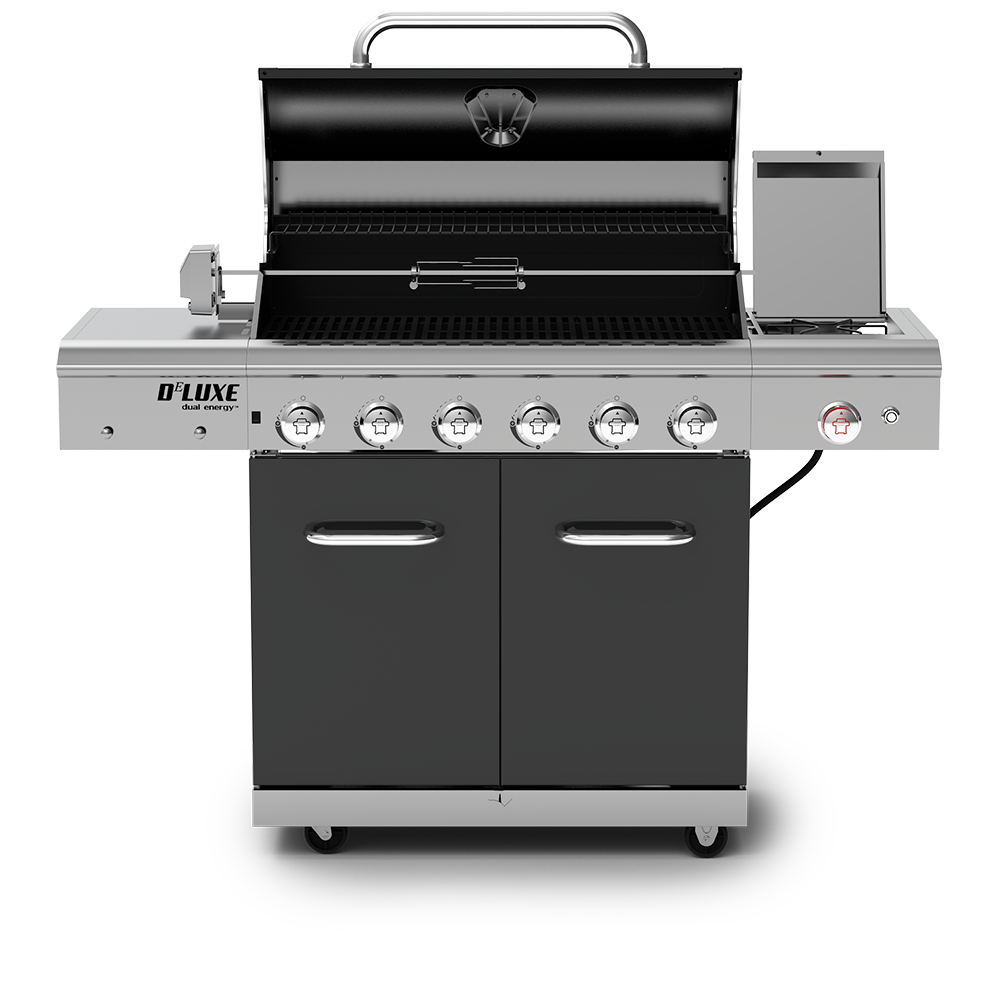 Deluxe 6-Burner Propane Gas Grill with Ceramic Searing Side Burner &  Rotisserie Kit
