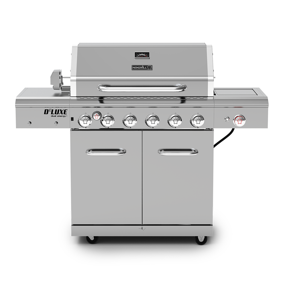 Deluxe 6 Burner Propane Gas Grill With Searing Side Burner Rotisserie Kit