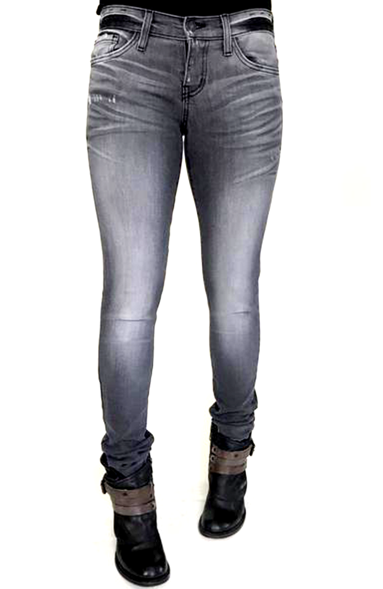 Dark Faded Gray Skinnies with Dark Accents