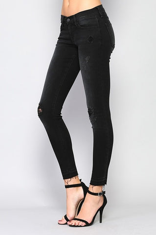 Black Distressed with Let Out Hem