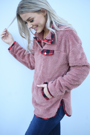 Buffalo Plaid Sherpa Pull Over