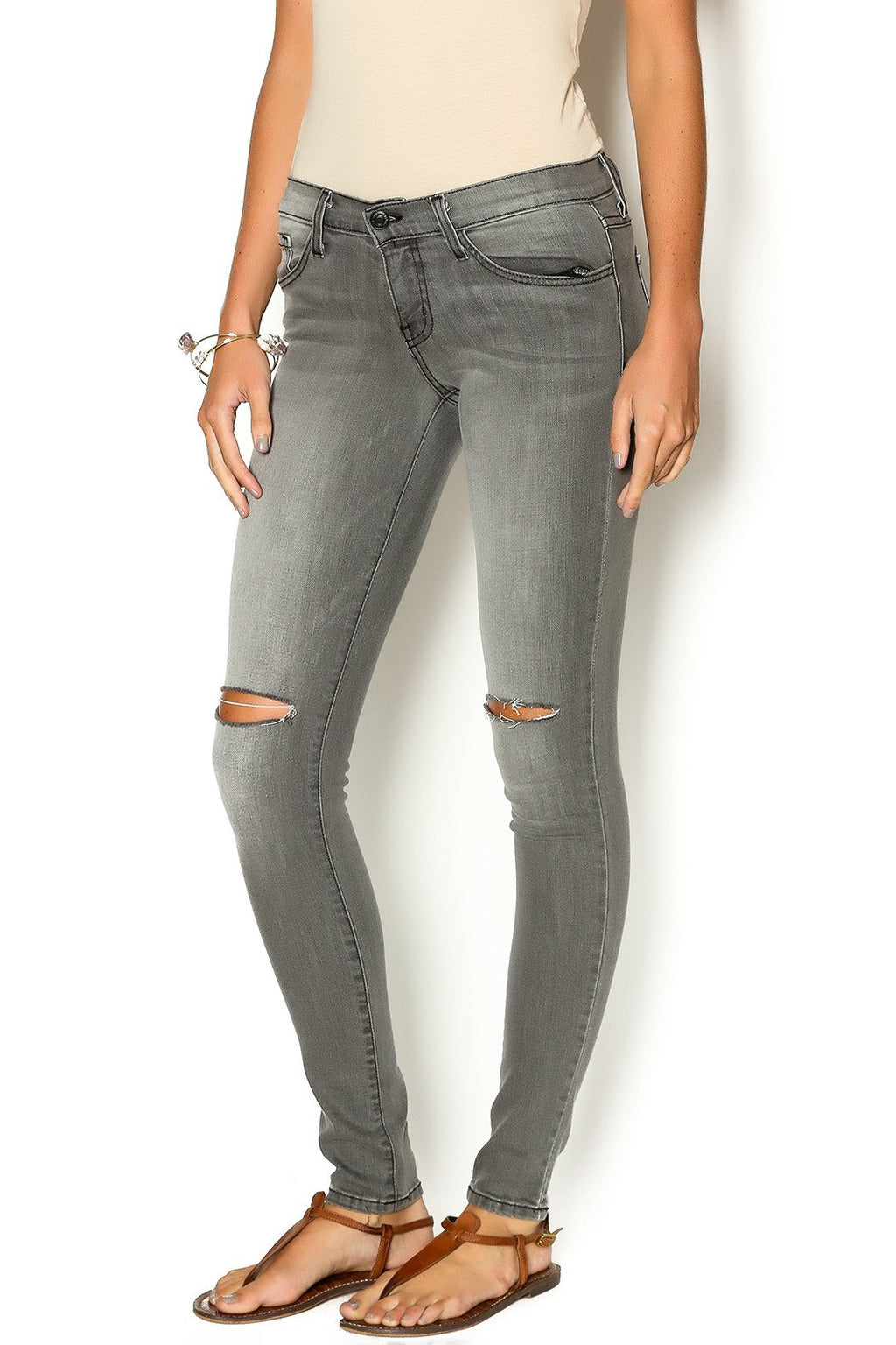 Gray Skinnies with Split Knee