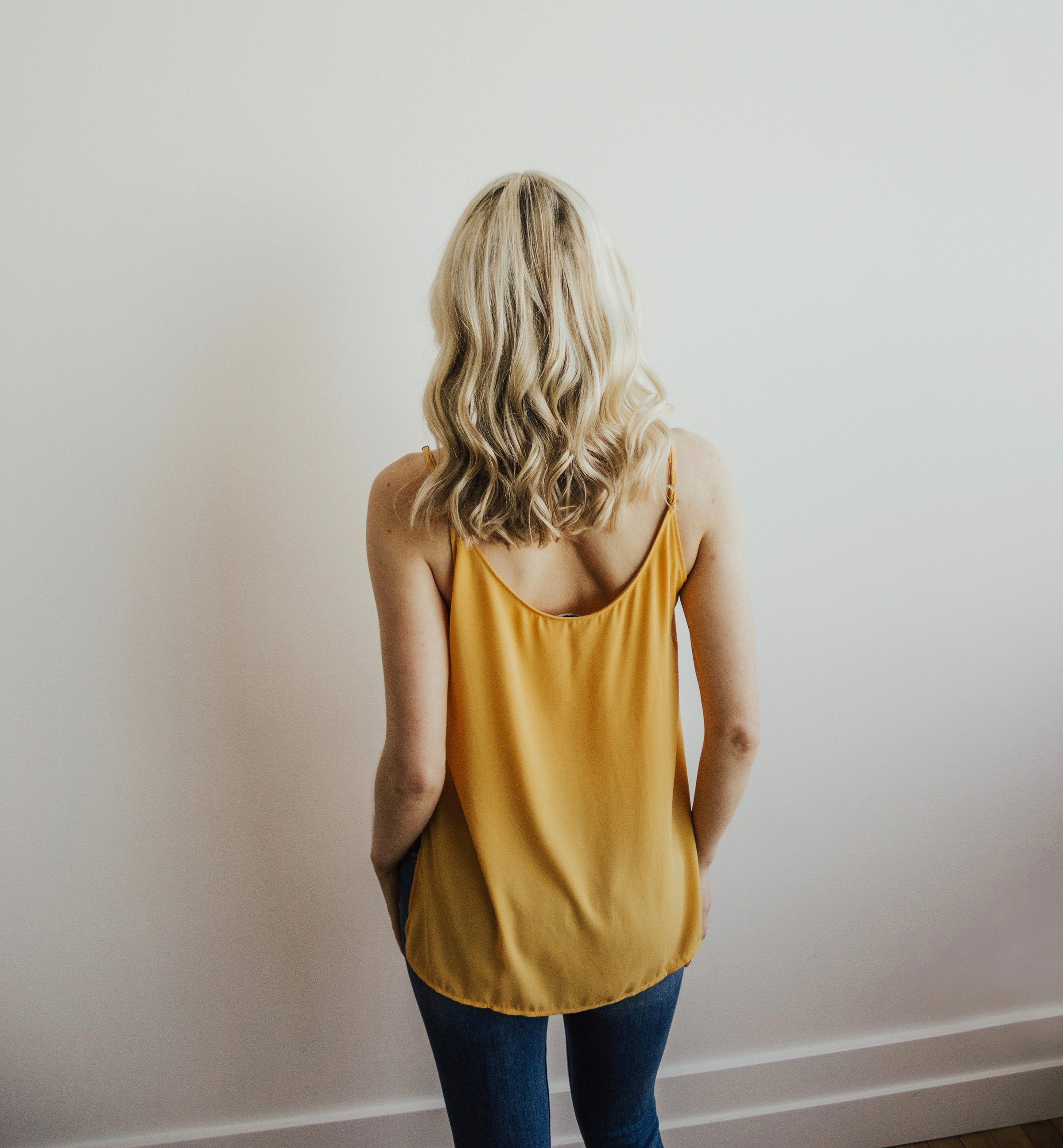 High Low V-Neck Chiffon Dobby Tank