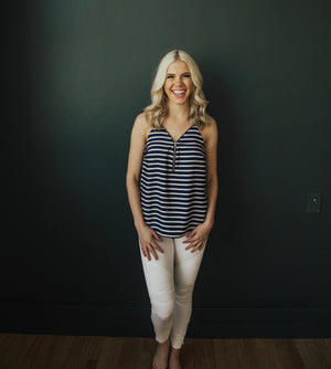 Striped Strappy Tank with Zipper