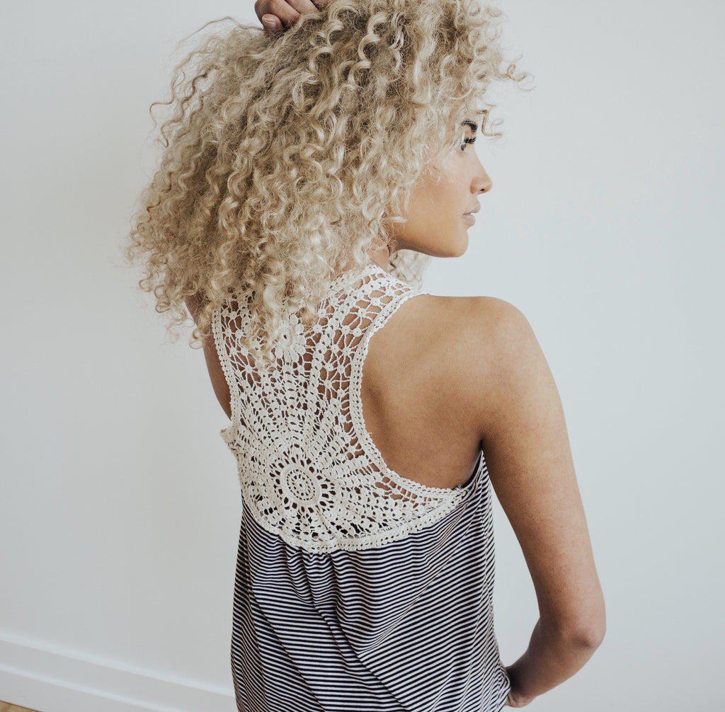 Striped Tank with Crochet Details