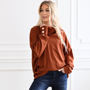 Mary Jane Button Detail Turtle Neck Top
