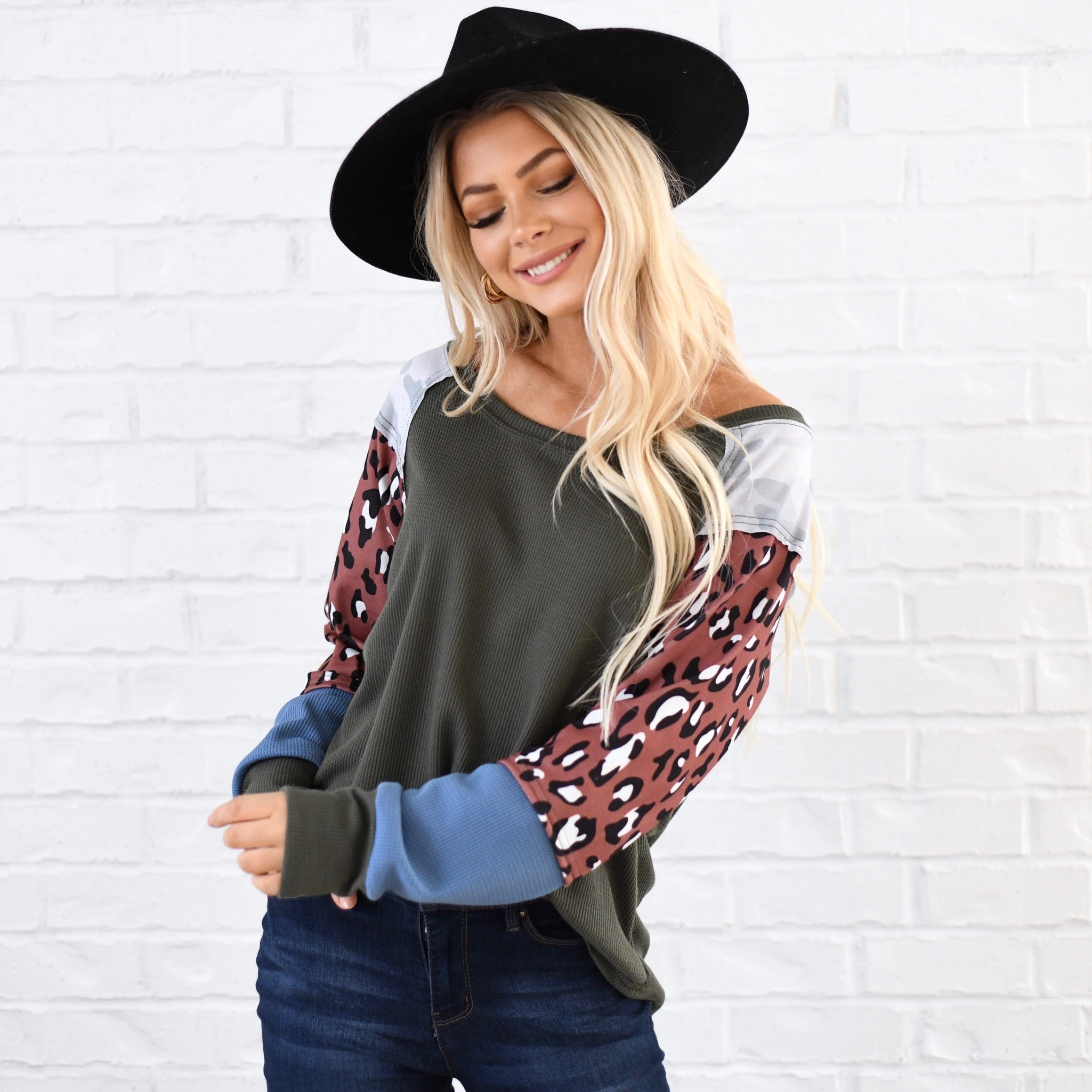 Multi Patch Sleeve Ridge Top