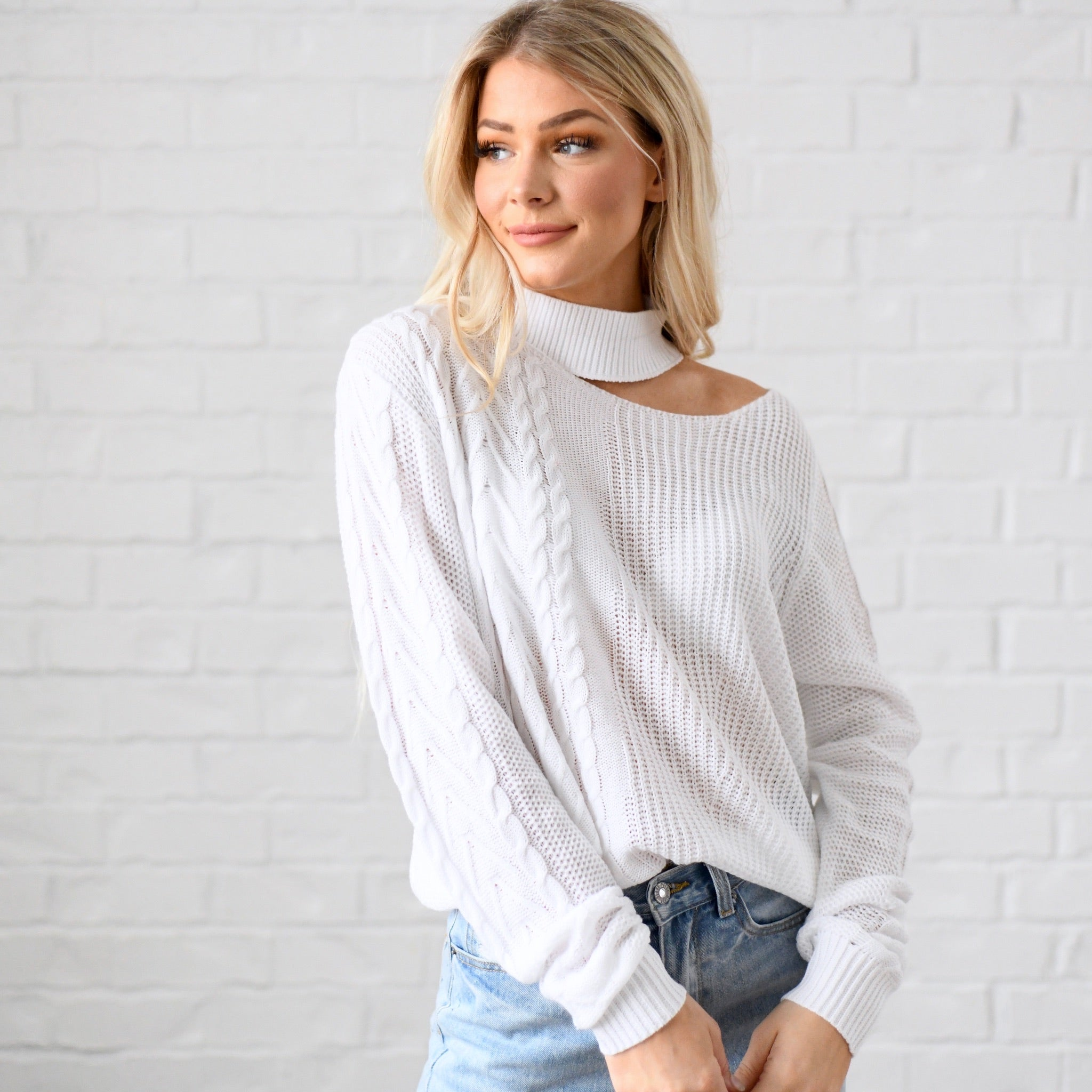 Off Shoulder Choker Sweater