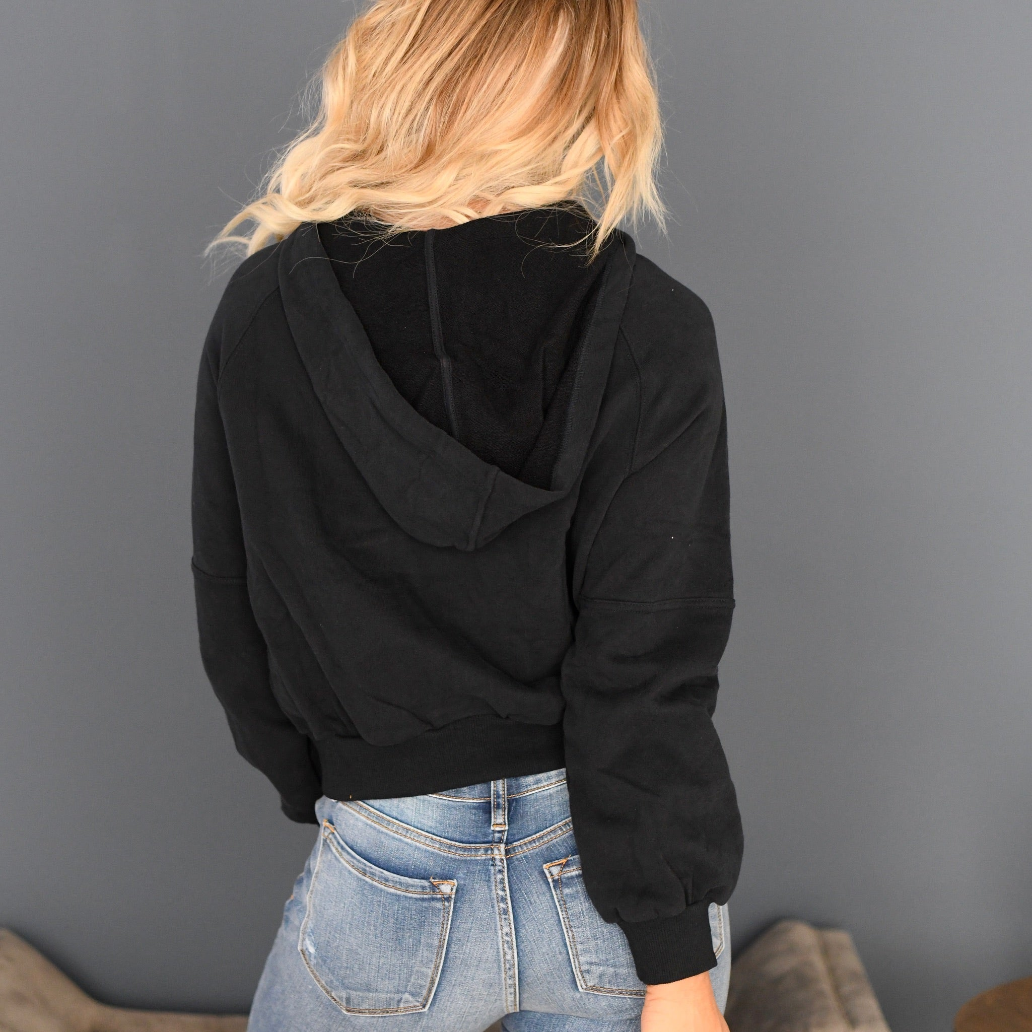 Crop Side Button Hoodie