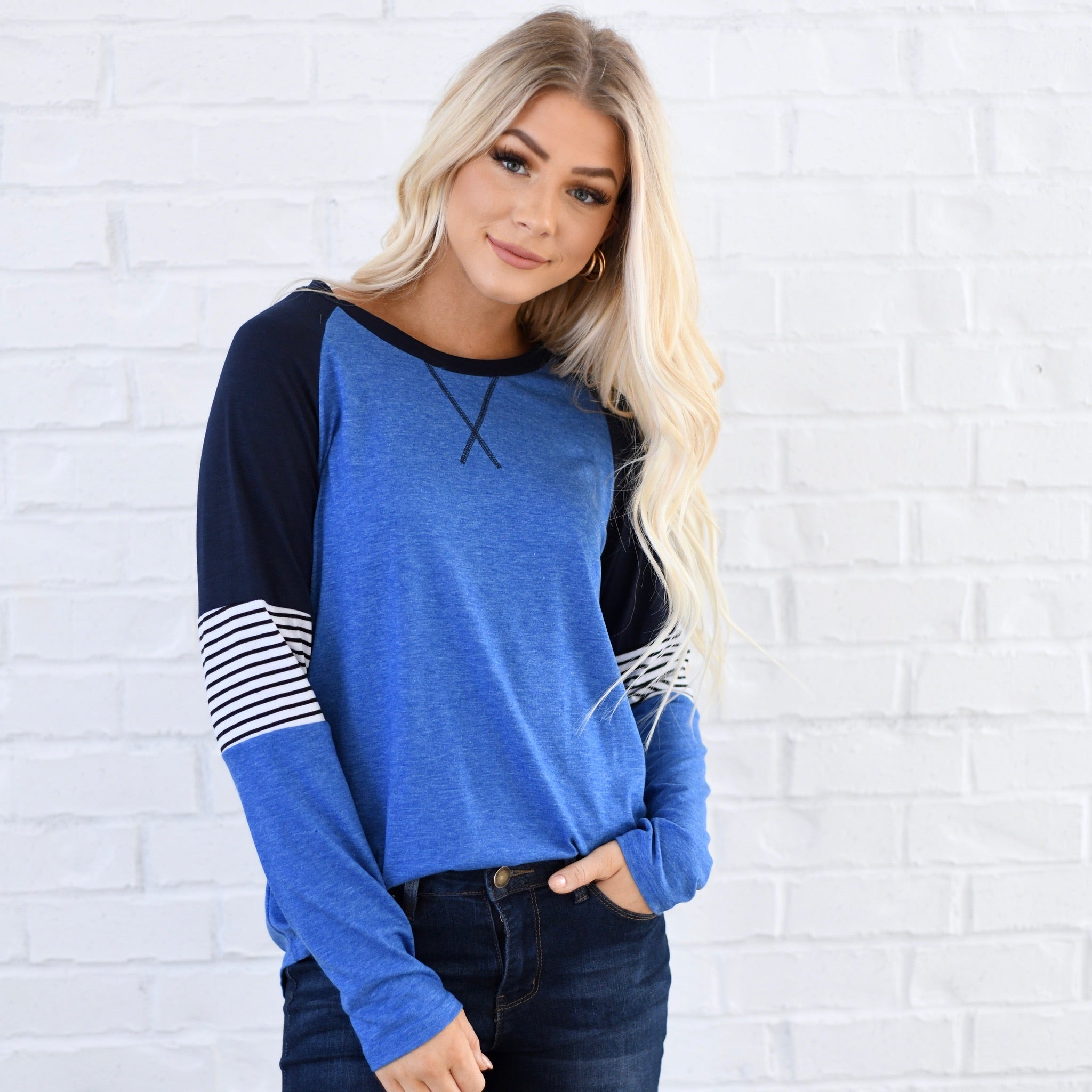Striped Elbow Casual Top