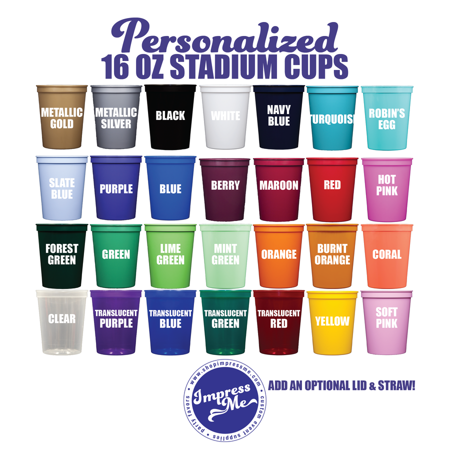 16 oz Personalized Stadium Cups - 2 Color Imprint