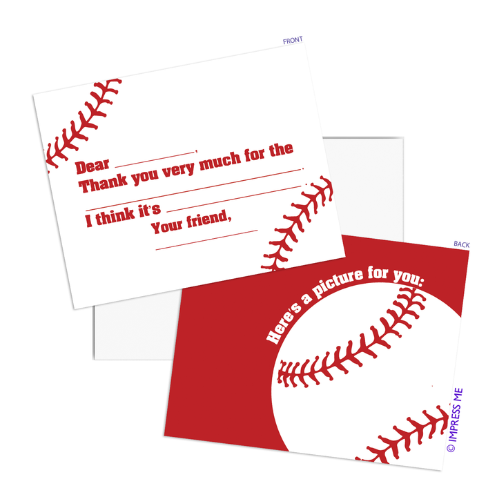 Fill In The Blank Thank You Cards - Baseball