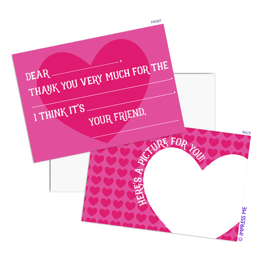 Fill In The Blank Thank You Cards - Hearts