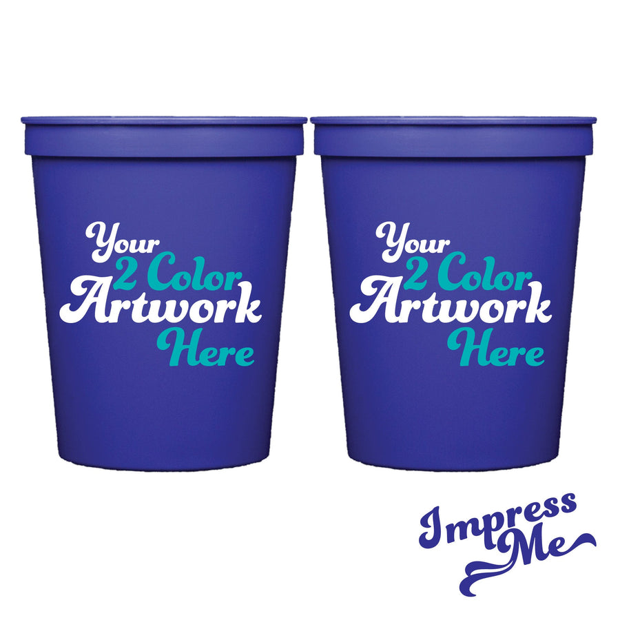 16 oz Personalized Stadium Cups - 2 Color Imprint - Impress Me