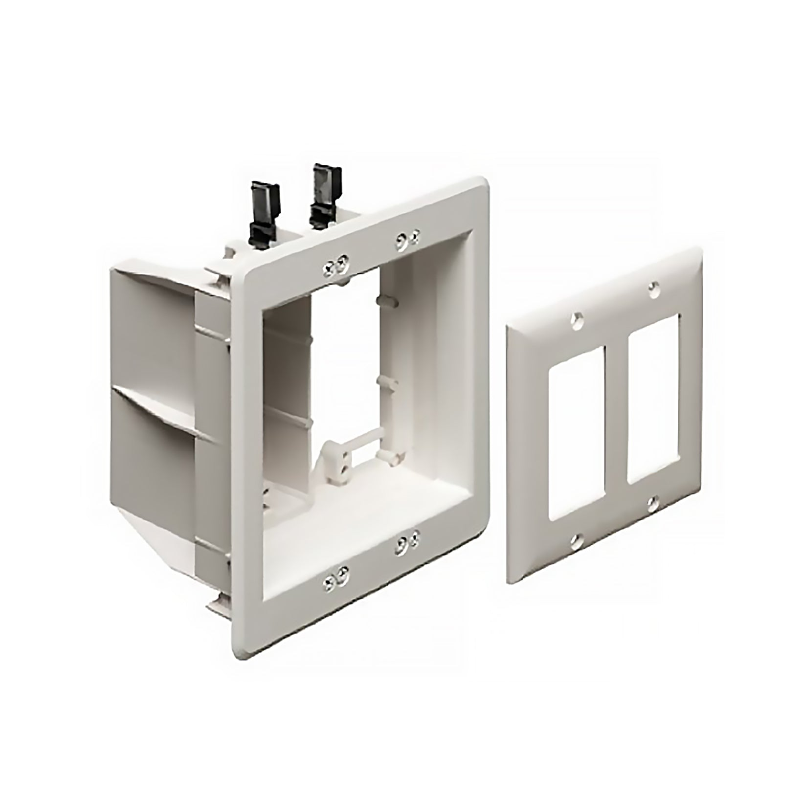 Arlington TVBU505 2 Gang Recessed TV Box Wall Plate Kit Paintable, White