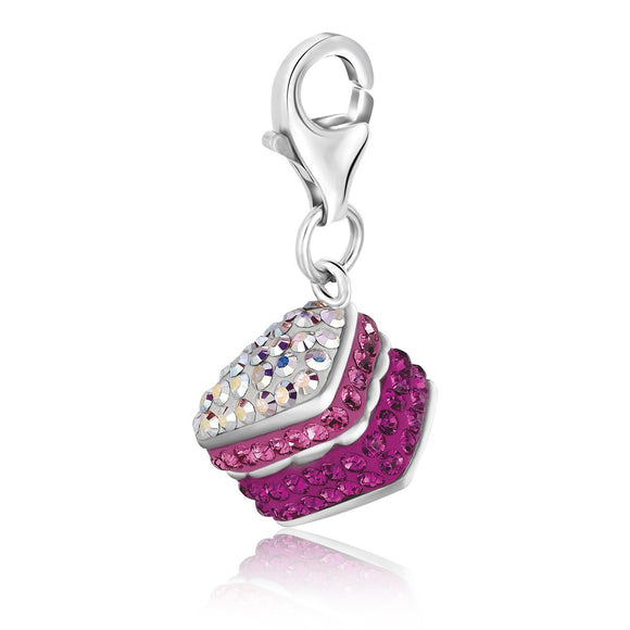 Sterling Silver Cake Charm With Multi Color Crystal Accents