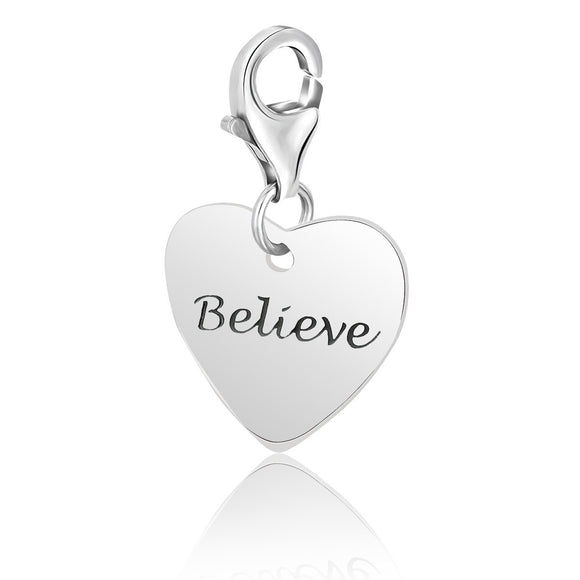 Sterling Silver Heart BELIEVE Charm