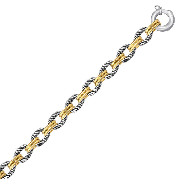 18K Yellow Gold and Sterling Silver Dual Polished and Cable Style Chain Bracelet