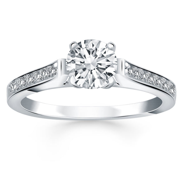 14K White Gold Pave Diamond Cathedral Engagement Ring