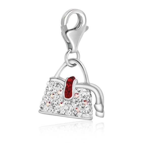 Sterling Silver Handbag Charm with White and Red Tone Crystal Accents