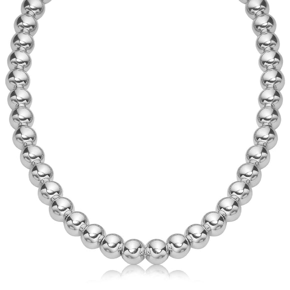 Sterling Silver Polished Bead Necklace with Rhodium Plating (10mm)