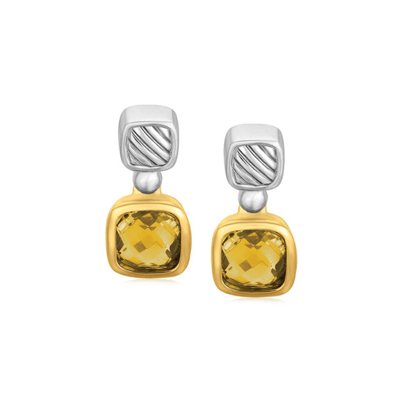 18K Yellow Gold and Sterling Silver Earrings with Bezel Set Cushion Cut Citrines
