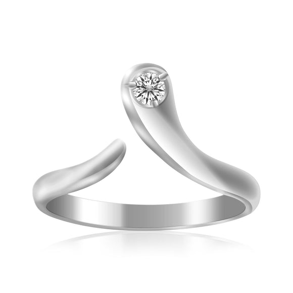Sterling Silver Rhodium Plated White Cubic Zirconia Accented Shiny Toe Ring