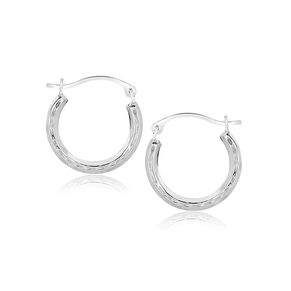 10K White Gold Fancy Hoop Earrings