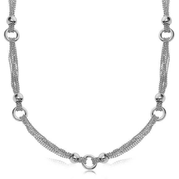 Sterling Silver Rhodium Plated Multi Strand Bead Chain Necklace with Ring Motifs