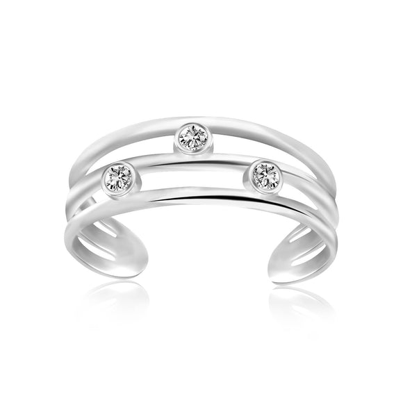 Sterling Silver Rhodium Plated Triple Line Open Motif Cubic Zirconia Toe Ring