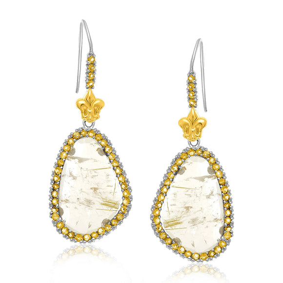 18K Yellow Gold & Sterling Silver Rutilated Quartz Drop Earrings