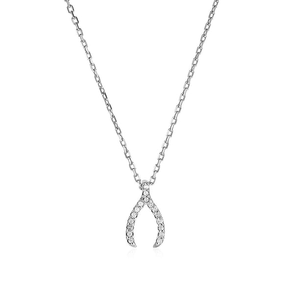 Sterling Silver Wishbone Pendant with Diamonds