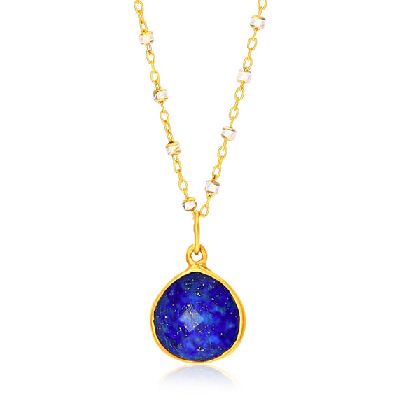 Sterling Silver Yellow Gold Plated Teardrop Faceted Lapis Pendant