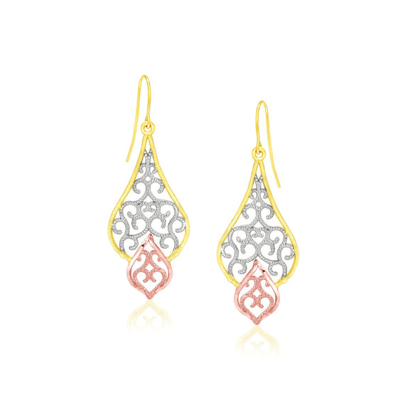 10K Tri-Color Gold Filigree Motif Fancy Drop Earrings