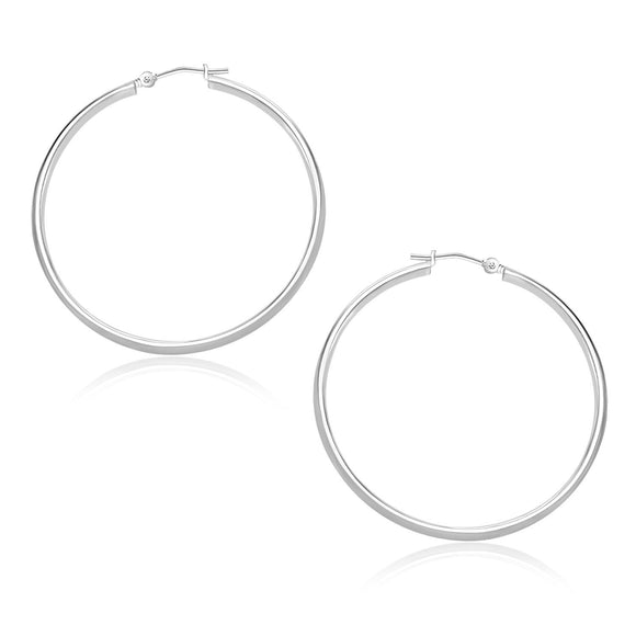 10K White Gold Polished Hoop Earrings (30mm)