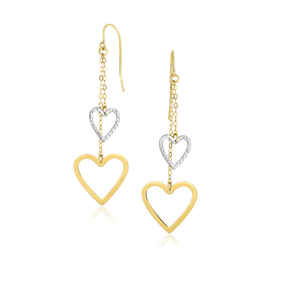 10K Two-Tone Gold Cutout Heart Chain Dangling Earrings