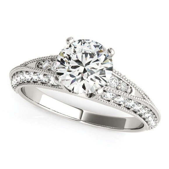 14K White Gold Pronged Round Antique Diamond Engagement Ring (1 1/2 ct. tw.)