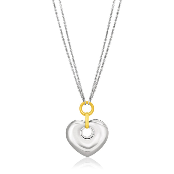 14K Yellow Gold & Sterling Silver Puffed Heart Circle Cutout Necklace