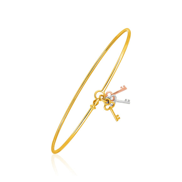 14K Bangle with Yellow, White, and Rose Gold Clover Key Charms