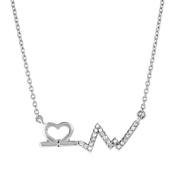 Sterling Silver Open Heart and Line Motif Pendant with Diamonds